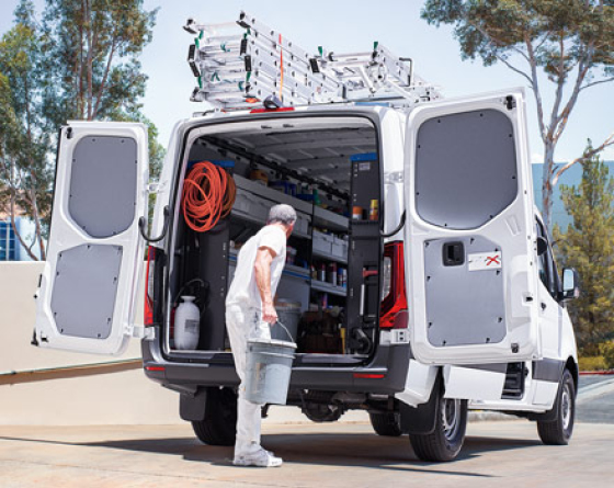 Man Working in white cargo van