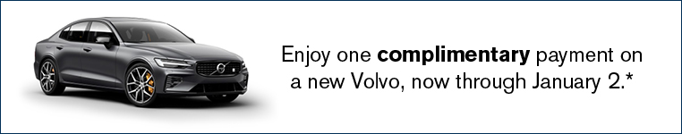 Enjoy one complimentary payment on a new Volvo, now through January 2