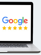 5-star Google review on computer screen