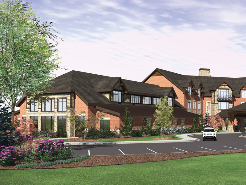 A photo of the Athens senior living community building