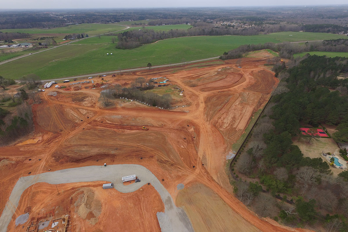 Aerial view of construction on a senior living community