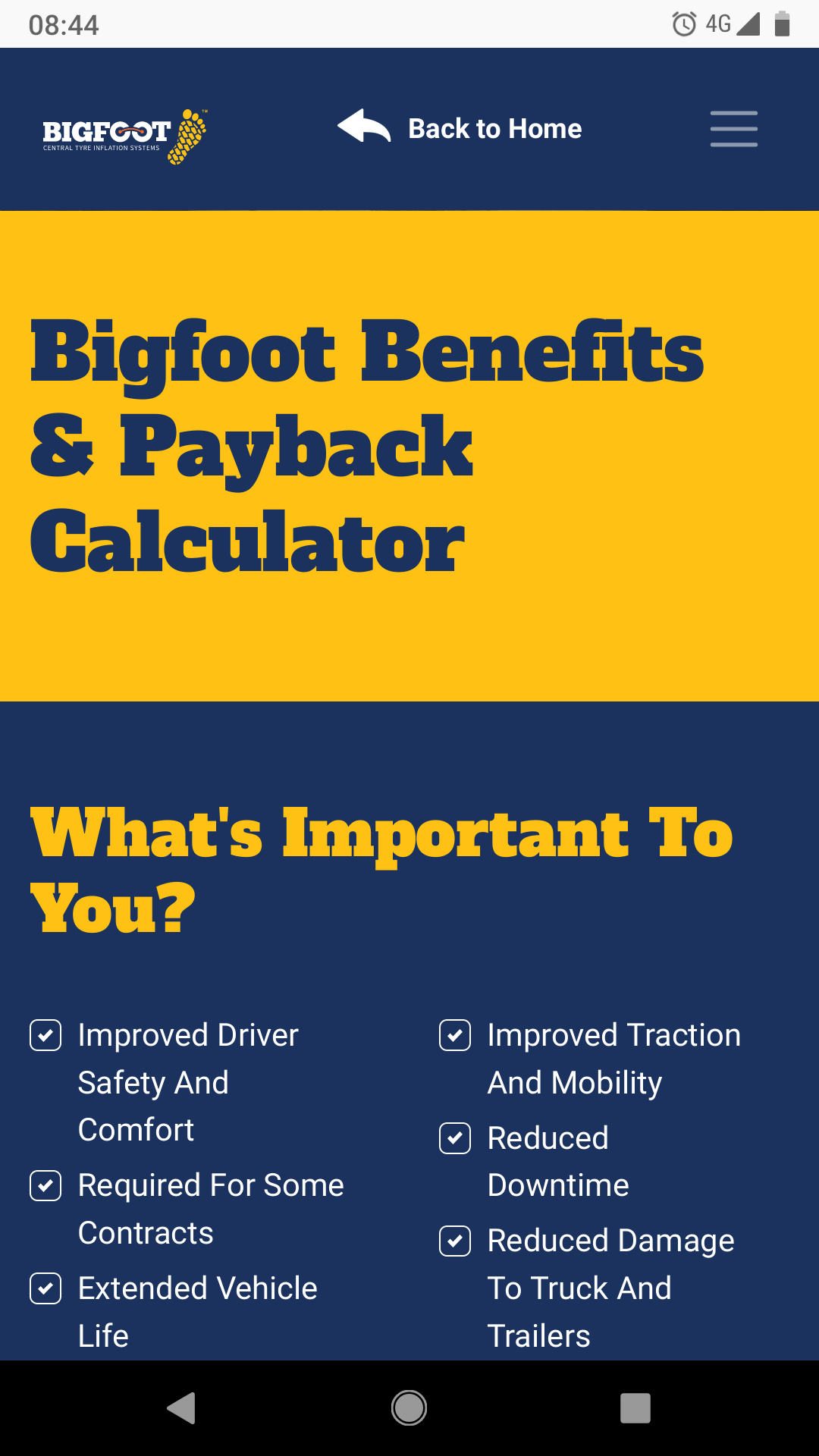 Bigfoot Benefits & Payback Calculator Image