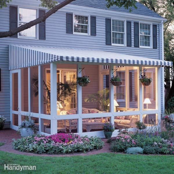 Love Your Patio But Hate The Bugs, Wind And Glaring Sun? Our Screened In,  Post And Beam Patio Enclosure With Removable Awning Top Solves It All.
