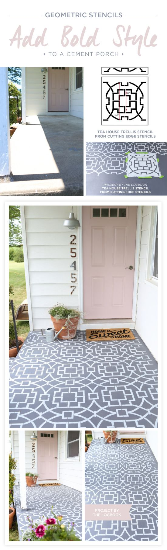 24 awesome diy porch projects stencils add color and style to a drab concrete porch good morning my cutting edge stencils friends a front porch can be a favorite spot to kick back and solutioingenieria Choice Image