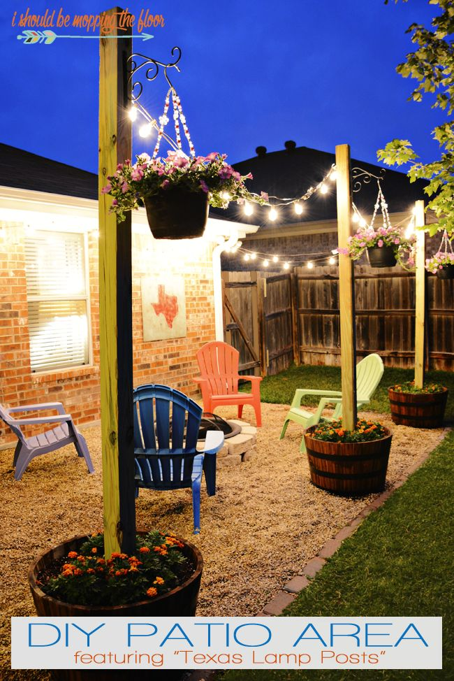 24 awesome diy patio projects this diy patio area with sturdy planted posts is the perfect way to improve a small yard on a small budget easy tutorials and tips to follow for great solutioingenieria Image collections
