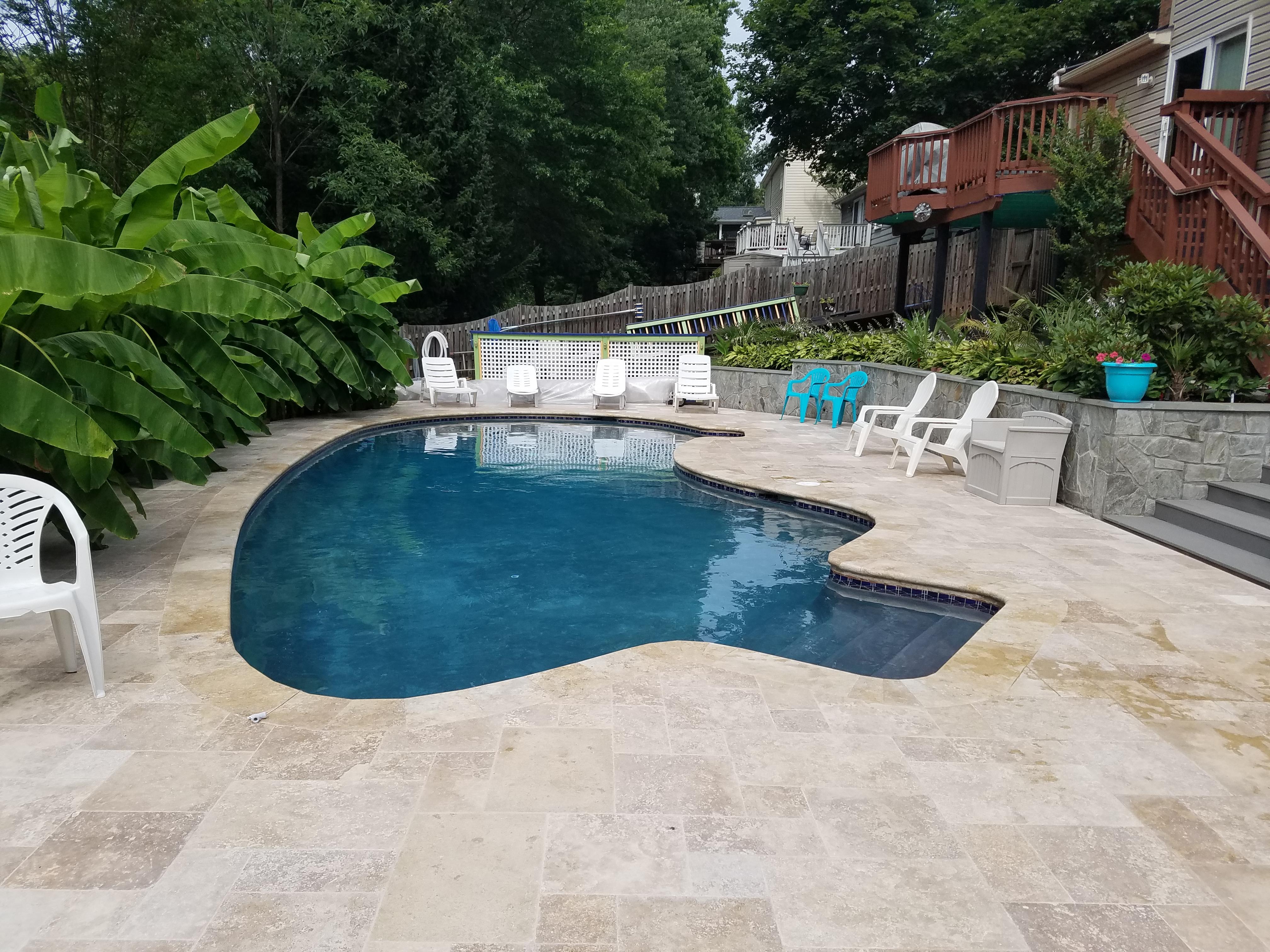 Travertine Pool Deck - Portfolio - Phoenix Home Services, Inc.