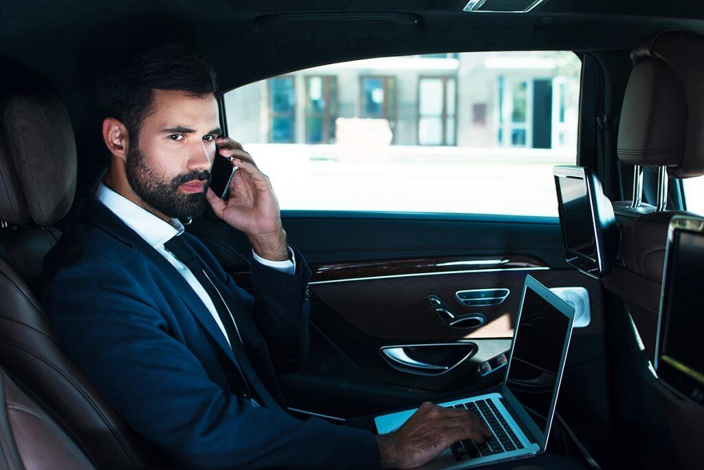 Business man congress or business meeting shuttle chauffeur limousine service