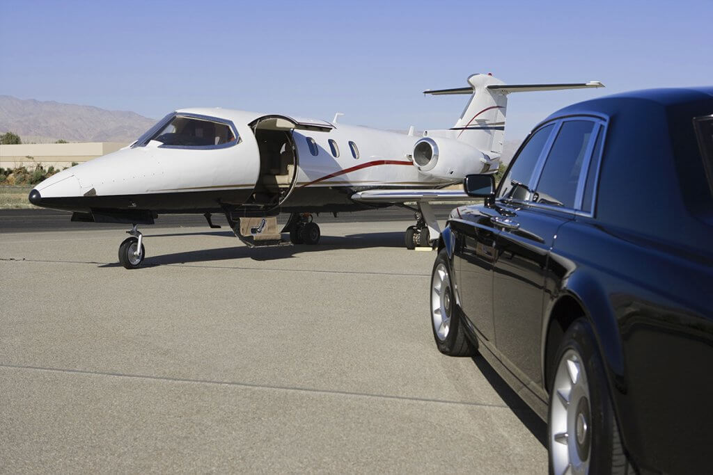 Airfield Private Jet Airplane Pick Up Drop Off Rolls Royce Chauffeur