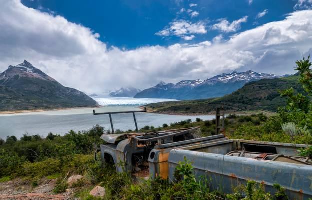 Glacier Perito Moreno and abandoned truck, Patagonia