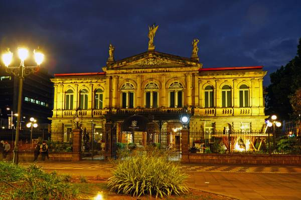 San Jose by night. National Theater of Costa Rica