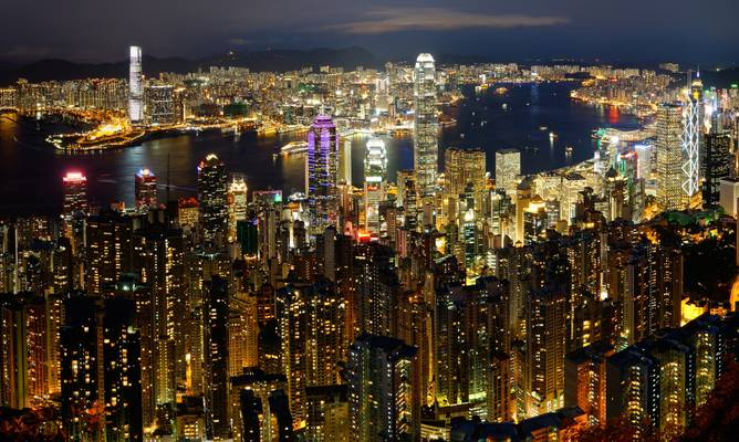 Skyline and Victoria Harbour from Victoria Peak