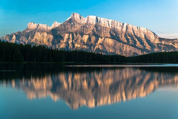 Mount Rundle seen from Two Jack Lake, early morning