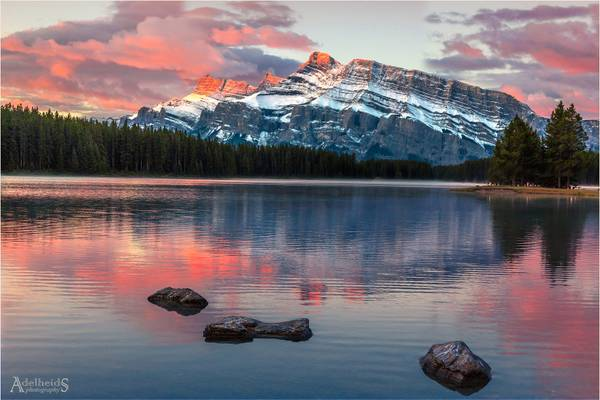 Mt. Rundle in pink