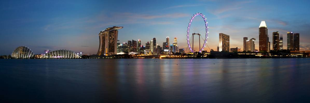 Gardens by the bay, Marina bay sands, CBD and Singapore Flyer, Singapore