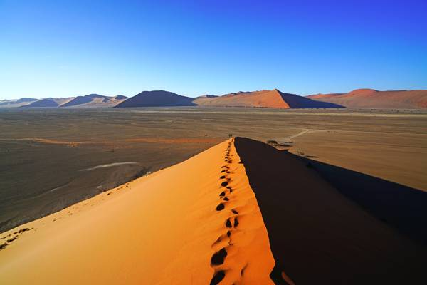 Steps down from the top of the Dune 45, Sossusvlei, Namibia