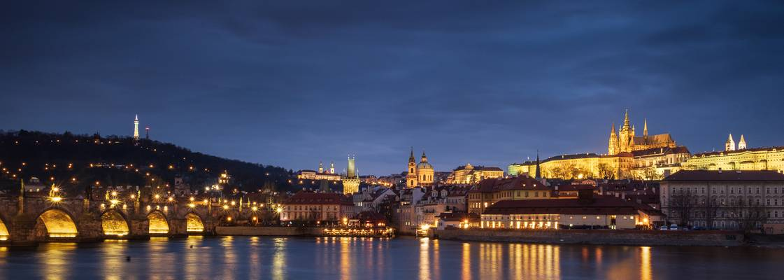Panorama of Charles Bridge and Prague Castle
