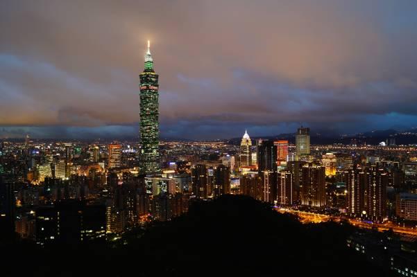 Taipei 101 and the city at dusk, Taipei, Taiwan - 臺北101, 台北, 台湾