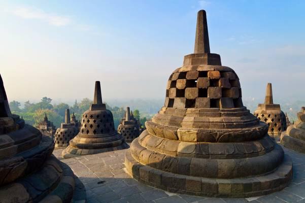 Stuppas at Borobudur temple, Java, Indonesia
