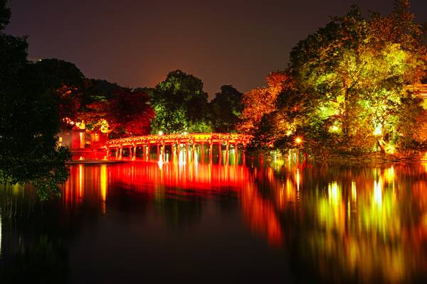 Hanoi by night. Red bridge to Ngoc Son Temple