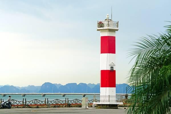 Red & white lighthouse of Ha Long