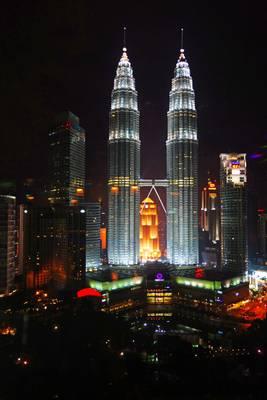 Kuala Lumpur by night. Twin Towers from Sky Bar
