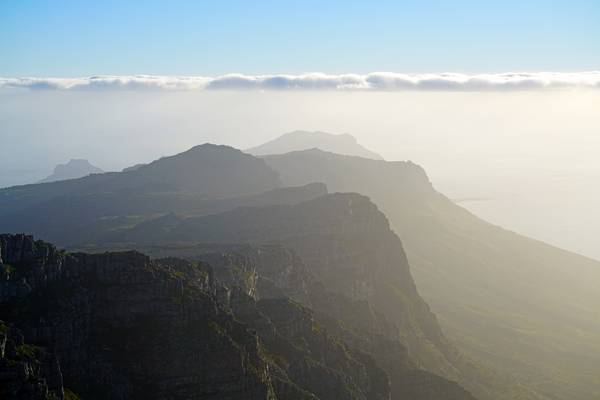 Table Mountain in the evening haze, South Africa