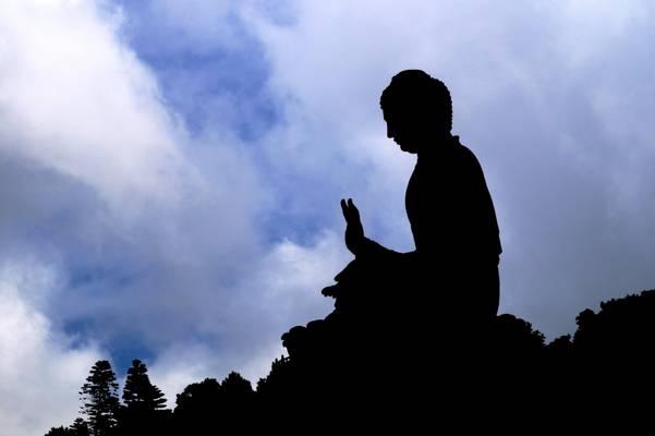 Silhouette of Tian Tan Buddha, Lantau, Hong Kong, China - 天壇大佛,香港,中国