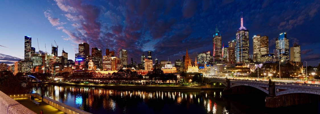 Melbourne skyline at night, view from river bank