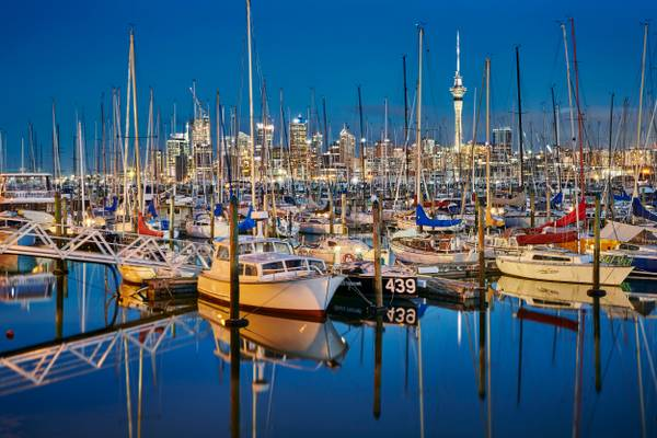 Auckland Skyline and Marina - New Zealand