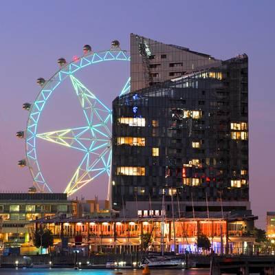 Aqui promenade in front of Melbourne Star, Docklands, Victoria, Australia