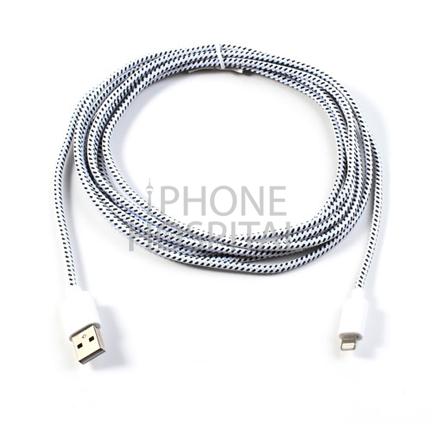Lightning auf USB Kabel 3m Weiß Geflochten für iPhone 5 / 5C / 5S / 6 / 6 Plus