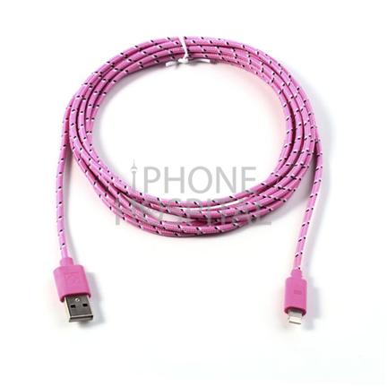 Lightning auf USB Kabel 3m Rosa Geflochten für iPhone 5 / 5C / 5S / 6 / 6 Plus