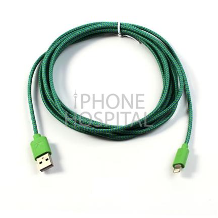 Lightning auf USB Kabel 3m Dunkelgrün Geflochten für iPhone 5 / 5C / 5S / 6 / 6 Plus