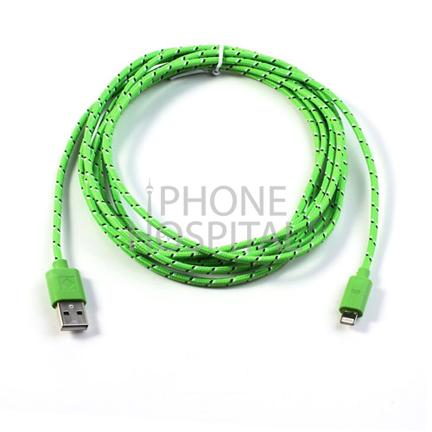 Lightning auf USB Kabel 3m Grün Geflochten für iPhone 5 / 5C / 5S / 6 / 6 Plus