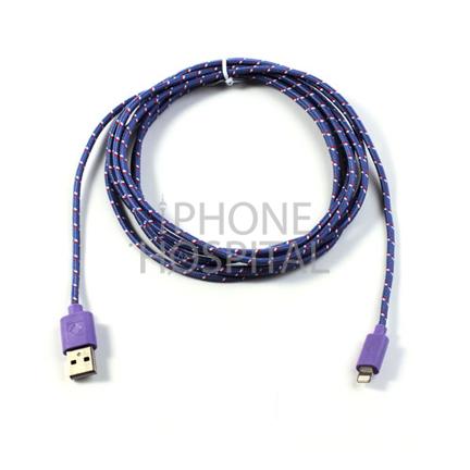 Lightning auf USB Kabel 3m Lila/Violett Geflochten für iPhone 5 / 5C / 5S / 6 / 6 Plus