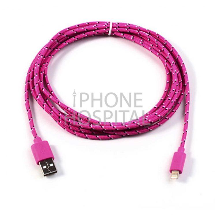 Lightning auf USB Kabel 3m Rosé Geflochten für iPhone 5 / 5C / 5S / 6 / 6 Plus