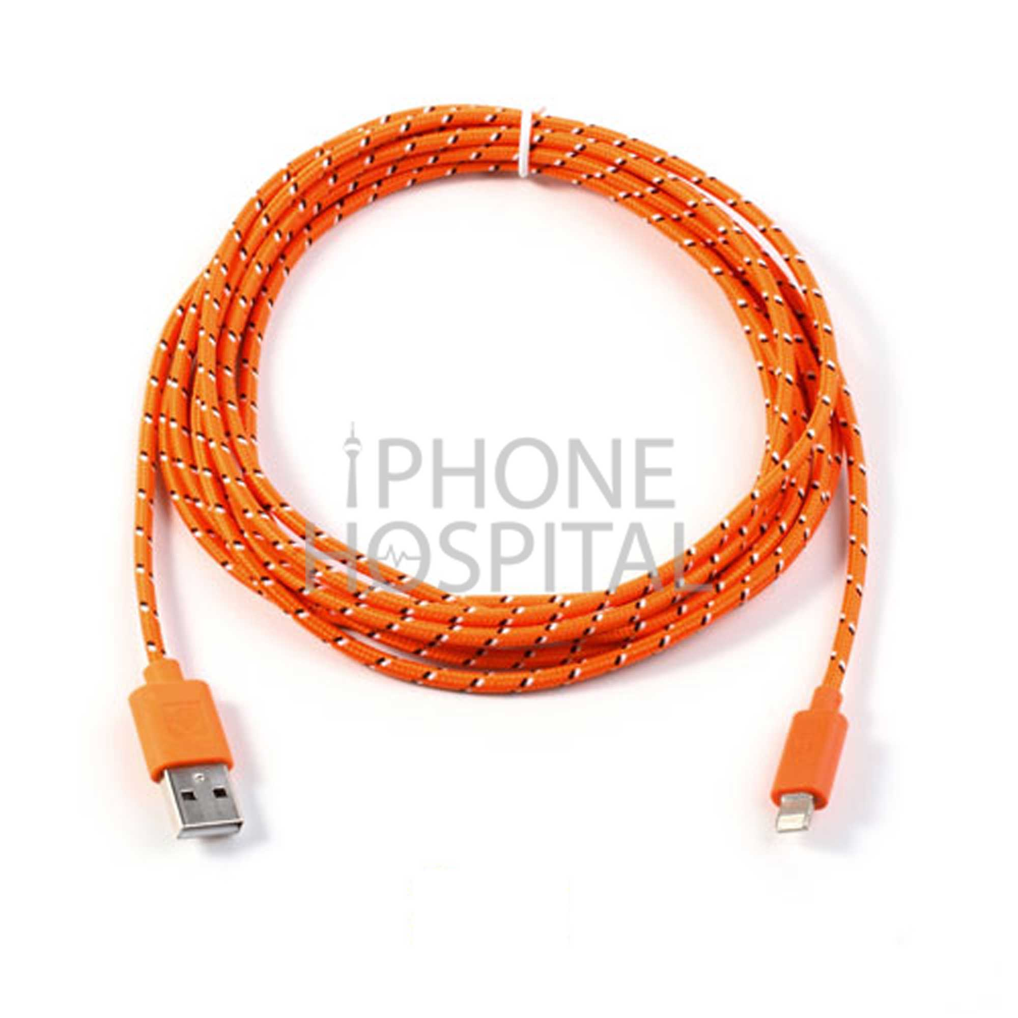 Lightning auf USB Kabel 3m Orange Geflochten für iPhone 5 / 5C / 5S / 6 / 6 Plus