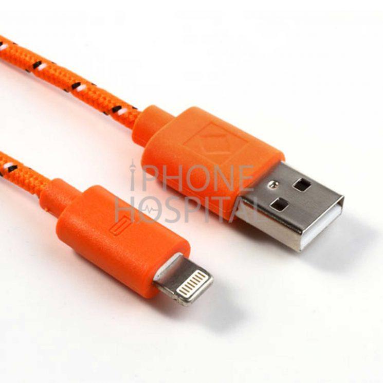 Lightning auf USB Kabel 3m Orange Geflochten für iPhone 5 / 5C / 5S / 6 / 6 Plus / 6S / 6S Plus