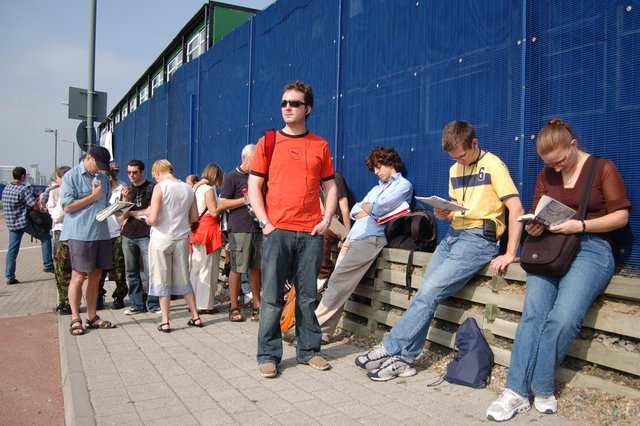 Kiesa in the London Open House queue outside the O2