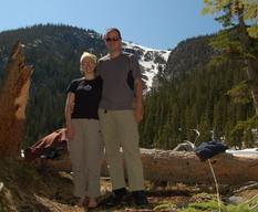 Jaeger and Kiesa at Comanche Lake, Comanche Peak Wilderness
