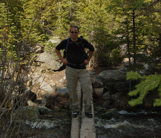 Jaeger crosses Beaver Creek, Comanche Peak Wilderness