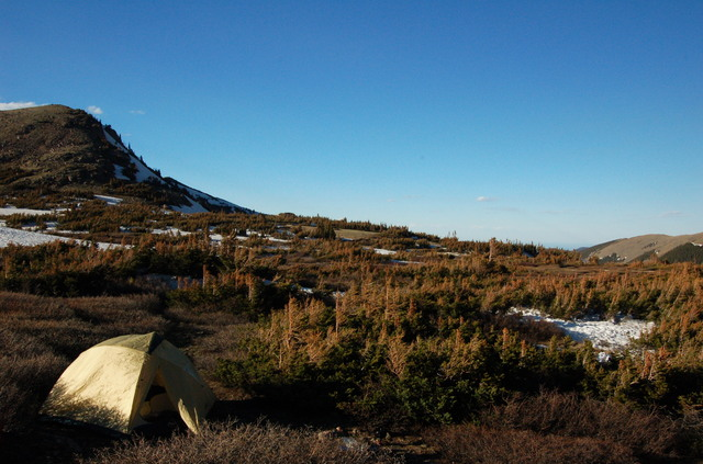 Camp at Heart Lake, James Peak Wilderness