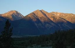 Sunrise on Twin Peaks above Twin Lakes Reservoir