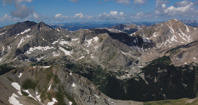 Mount Huron and the Three Apostles, looking west from Missouri Mountain