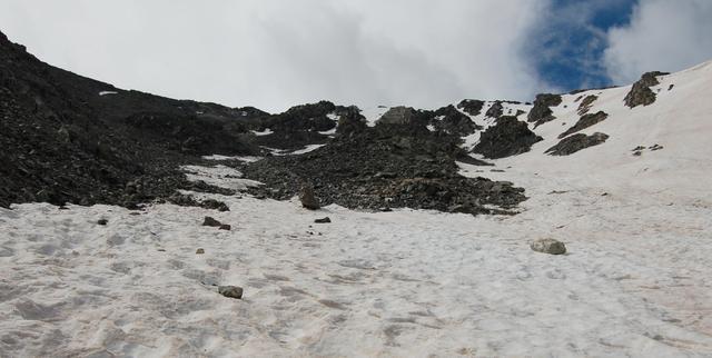 Emperor Couloir spreads out, Torreys Peak