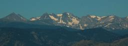 Navajo Peak, Apache Peak, and Shoshoni Peak visible from Longmont