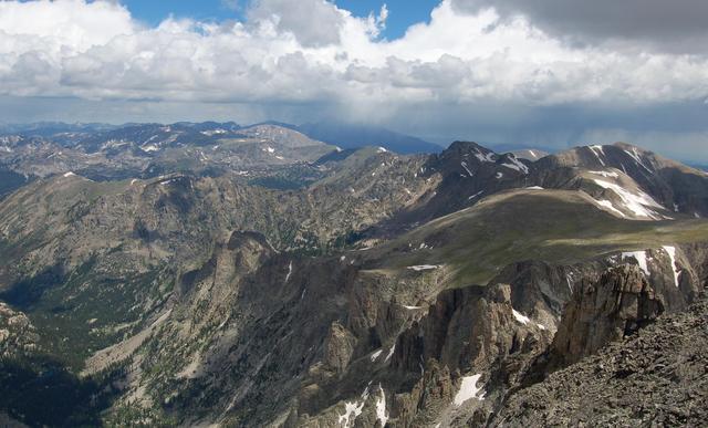Looking north towards Longs Peak from Apache Peak