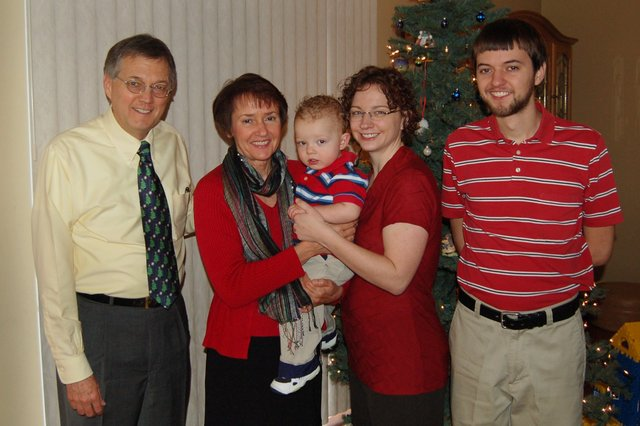 Grandpa, Nana, Calvin, Kiesa, and Uncle Willy at Christmas