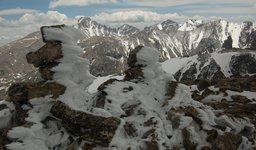 Hoar frost on the summit of Hallett Peak