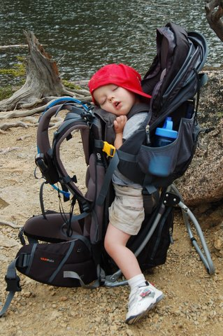 Calvin sleeps in the backpack carrier at The Loch